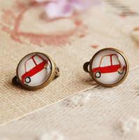 Wholesale Earrings Kids Clips - Mini Red Car Earrings Without Piercing Cute Earrings for Children Kids Jewelry rj19