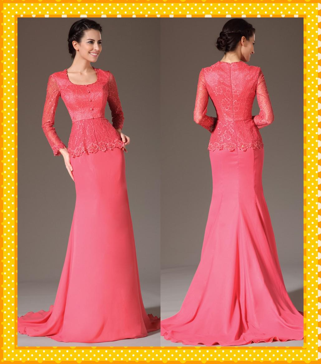 Peplum Evening Gowns with Sleeves