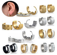 Wholesale silver plated hoops - Hot 48pcs New Fashion Punk Stainless Steel Crystal Earrings Hoop Huggie Ear Stud Free Shipping[JE01008-JE01010]