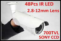 Wholesale Ccd 48 - Free shipping CCTV Security Sony 700TVL day and night infrared waterproof IR CCD camera with 2.8-12mm varifocal lens 48pcs Leds with OSD
