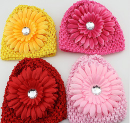 Wholesale Beauty Braids - Kids Beauty Hats Children Chrysanthemum Knitted Flower Sparkling Rhinestone Hat Kid Child Floral Sparkling Stars Cap Flowers Caps D2446