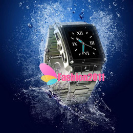 Wholesale Water Proof Watch Camera - Newest 1.5Inch Waterproof W818 Watch Phone Stainless Steel Quadband Bluetooth Camera Touch Screen MP3 MP4 Player with Retail Box 002189