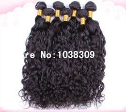 Cheapest Wave Hair Canada - Wholesale discount high quality cheapest super soft unprocessed virgin Peruvian human remy hair natural water wave hair weave free shipping
