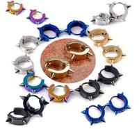Wholesale Ear Stud Spikes - Brand New Stainless Steel Men's Earrings Hoop Huggie Ear Stud Black Gold Spike Punk Free Shipping[E155-E159*12]