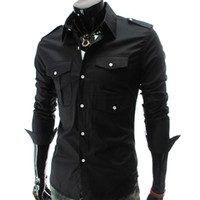 Wholesale Mandarin Dress Long Sleeved - With many pockets Mens Luxury Cultivate On's Morality Leisure Long Sleeved Shirt