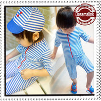 Wholesale Sailor Swimming Suit - Hot Sale Summer baby swimwear 2-7years child seaman swimsuit baby swimming suit sailor Kids boy beach suit with cap hat 1PC