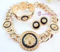 Wholesale sterling silver rose quartz - Fashion Chunky Black Enamel Lion Head Statement Necklace Bracelet Earrings Set
