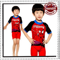 Wholesale Spiderman Swimsuits - Hot Sale Summer baby swimwear child seaman swimsuit baby swimming suit spiderman Kids boy beach suit 1pc