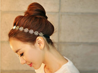 Wholesale Hair For Party Korean - Fashion Korean Lovely Chain Elastic Hollow Out Rose Flower Stretch Hair Band Headband Metallic Hiar Jewelry For Women QC1
