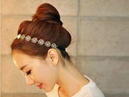 Mode coréenne belle chaîne élastique creux rose fleur étirer cheveux bandeau bandeau métallique Hiar bijoux pour les femmes QC1 ? partir de fabricateur