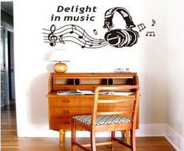 Wholesale Wall Decal Quotes Music - Delight in Music Quote Wall Sticker Home Decoration Art Home Wall Decals Removable