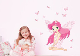 Wholesale Pink Fairy Wall Stickers - Pink Fairy Princess and Butterly Wall Decals Removable Wall Stickers Translucent Wall Decal art Mural Decor