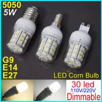 Wholesale g9 led dimmable 5w - 5W Dimmable E14 E27 G9 360 degree 30 SMD 5050 LED Light Bulb White Warm White lighting 110V 240V 450Lm LED Corn spotlight bulbs With Cover