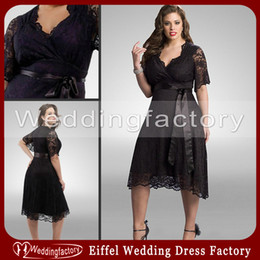 Wholesale Large Winter Red Dress - Black Lace Plus Size Bridesmaid Dresses with Sleeves A Line Surplice Short Sleeve Large Tea Length Wedding Party Dress