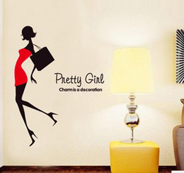 Wholesale Fashion Television - Fashion Girls Shopping window Stickers Wall Decals Removable Wall Stickers Translucent Wall Decal art Mural Decor