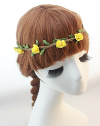 boho flower wreath wedding hair Coupons - Bride Boho Flower Headband Festival Wedding Floral Garland Hair Band Headwear Hair Accessories for Women wreath hair accessories QC2