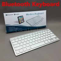 Wholesale Thinnest Keyboard For Ipad Mini - Mini Ultra Thin Aluminum 2.4Ghz Bluetooth Wireless Keyboard For Tablet PC Macbook Mac iPad 2 3 4 Mini Air Etc Keyboards Free Shipping