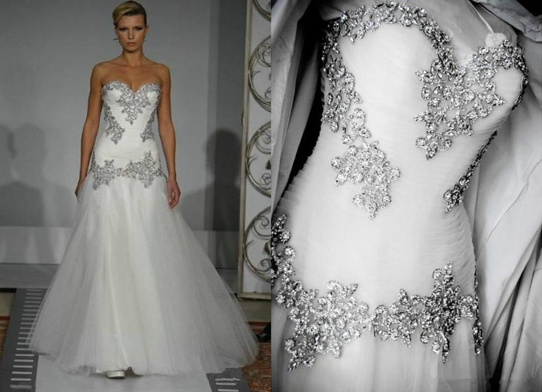 Wedding Gowns With Bling: Discount 2014 Wedding Dresses Pnina Tornai A Line