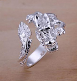 Discount sterling silver dragon rings - Hot Sales 925 silver jewelry 10pcs lot 925 Sterling Silver Plated Dragon Fashion Rings US 8