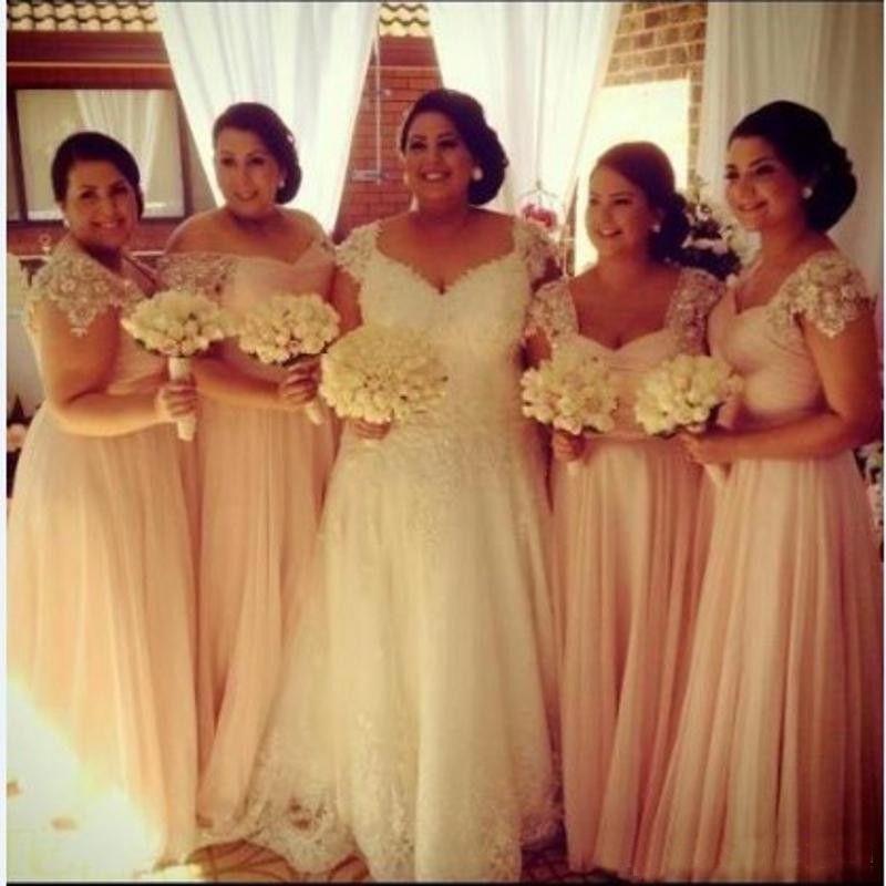 送料無料新しい到着ピンクシフォンVネック床の長さAラインキャップスリーブプラスサイズの花嫁介添人ドレス