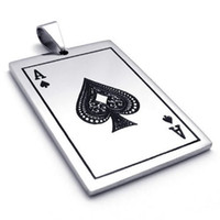Wholesale Ace Jewelry - Fashion Jewelry Stainless Steel Ace of Spades Card Poker Pendant Mens Womens Necklace Send Chian Whitney Houston Drop Free Shipping