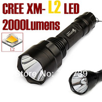 Wholesale Usa Flashlights - USA EU Hot Sel C8 NEW CREE XM-L2 LED 2000Lumens cree led torch Spotlight cree LED Flashlight Torch light For 1x18650-Free shipping