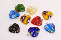 Wholesale Heart Shaped Glass Pendants - Lots Mixed Millefiori Flower Glass Heart Shape Beads Pendants Silver Plated Hook Fit Bracelets and Necklace DIY #B91