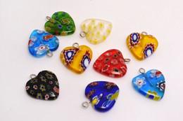 Wholesale Wholesale Millefiori - Lots Mixed Millefiori Flower Glass Heart Shape Beads Pendants Silver Plated Hook Fit Bracelets and Necklace DIY #B91