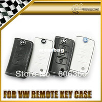 Wholesale Vw Key White - For VW Volkswagen GTI Rabbit SR Racing R line R-LINE White Black Leather Key Case Key Bag Key Wallet Black Stitch