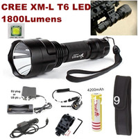 Wholesale T6 Led Spotlights - Alonefire C8 NEW CREE XM-L T6 LED 1800lm Spotlight Tactical Flashlight+mounts Remote switch battery charger Car charger holster