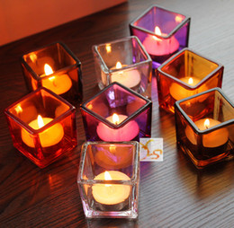 Wholesale Oil Candle Holders - Creative Color Glass Candle Holder Square Candle Stand Tealight Holder Base Party Decoration Promotion Gift 4pcs lot SH277