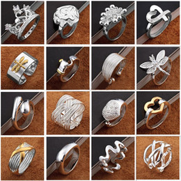 Wholesale Rings Side Stones - Newest arrival Fashion Jewelry 925 silver finge rings Beautiful women girls Multi Styles Rings Mix size Charming gift 60pcs lot Hot Sale