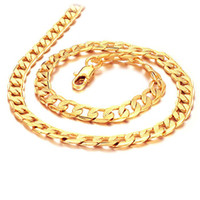 Wholesale Width 7mm - Wholesale - 24k gold filled necklace length : 50cm, width : 7mm, Weight : 24g, free shipping