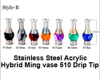 Wholesale Ego Hybrid - 2014 New Arrival 510 Stainless and Acrylic Drip Tips with Hybrid Column Style EGO Mouthpiece For E Cigarette Clearomizers Atomizer