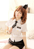 Wholesale Sexy Police Girl Uniform - lingerie Free Shipping White Uniform Police Uniform Sexy School Skirt Sexy Costume Suit and Dresses for Girls Wholesale Drop ship US1231