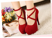 Wholesale Platform High Heels Strappy Shoes - Big Size (us) 4--11 New Women Red Bottom Strappy Heels Pumps Sexy Wedding Club Party Platform High Stiletto Heels Shoes