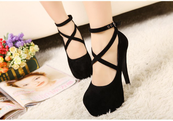 Summer Women's Sexy Pumps Vintage Red/Black Flock Platform Fashion Strappy High Heels Party Shoes
