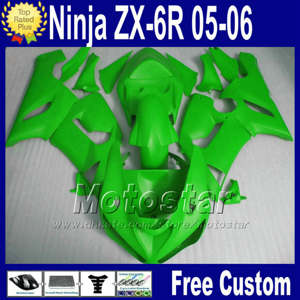 Full fairing Free Seat cowl for 05 06 ZX6R Kawasaki Ninja ZX-6R 636 2005 2006 ZX 6R ZX636 all green motorcycle fairings kit fg53