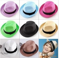 Wholesale Straw Mens Trilby Hats - Fashion Womens Mens Unisex Fedora Trilby Gangster Cap Summer Beach Sun Straw Panama Hat Couples Lovers Hat