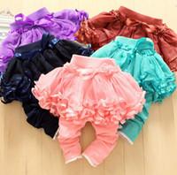 Wholesale Tutu Skirts For Children - Wholesale -Children's Leggings girl pants Girl Leggings yarn tutu skirt pants 5 colours for 2~7 years old children 4p l