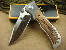 Wholesale Browning 339 - Browning 339 440 55HRC Blade Steel Small Falcon Folding Knives White Shadow Wood Handle Xmas gift