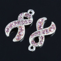 Wholesale Wholesale Breast Cancer Jewelry - 50pcs Metal Silver Plated Crystal Rhinestone Pink Ribbon Charms Bead Breast Cancer Awareness Jewelry Findings