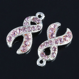 Wholesale breast cancer awareness jewelry - 50pcs Metal Silver Plated Crystal Rhinestone Pink Ribbon Charms Bead Breast Cancer Awareness Jewelry Findings