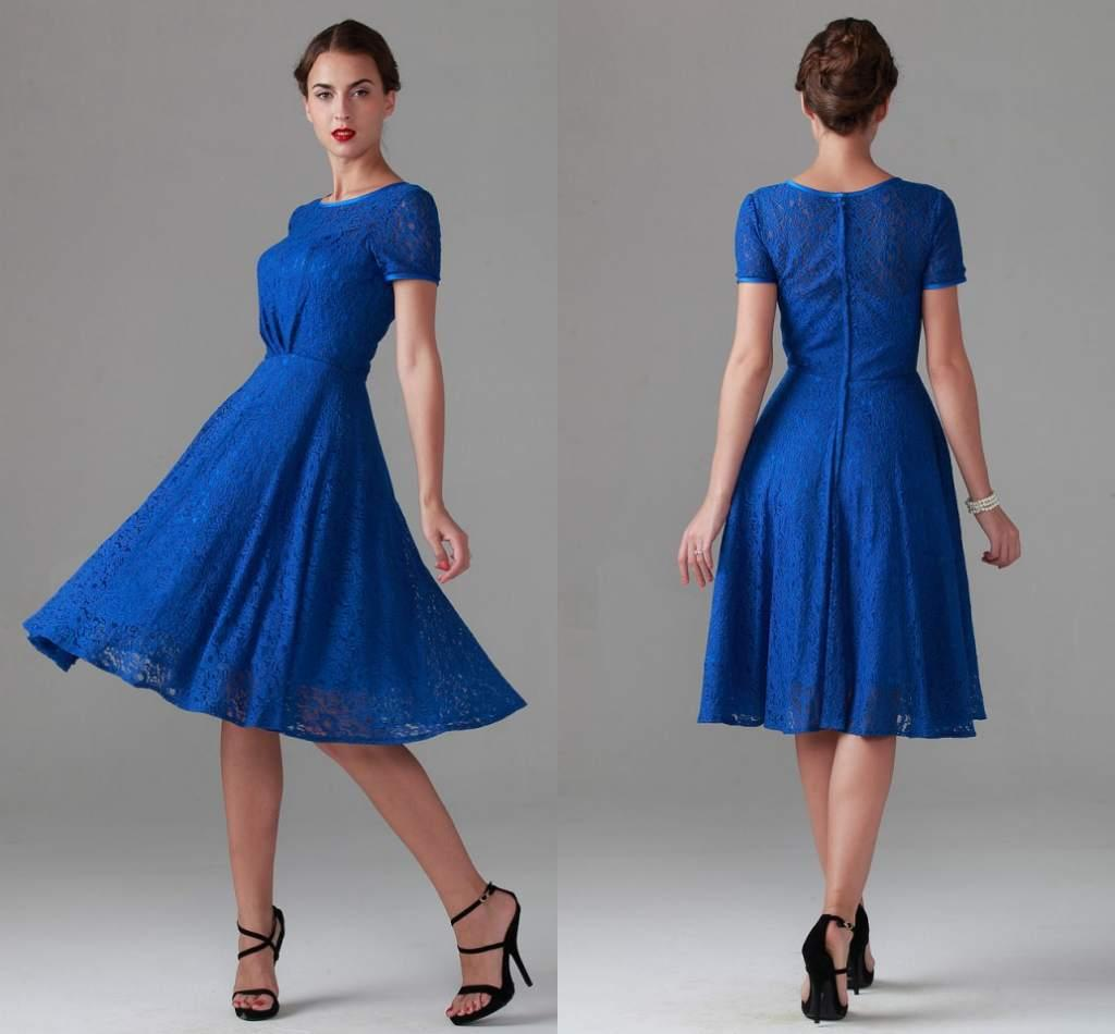 new Royal Blue Vintage Tea Length Lace Mother of Bride Dresses Short Sleeve Bridal Bridesmaid Party Evening Wedding Gowns Arabic Cheap