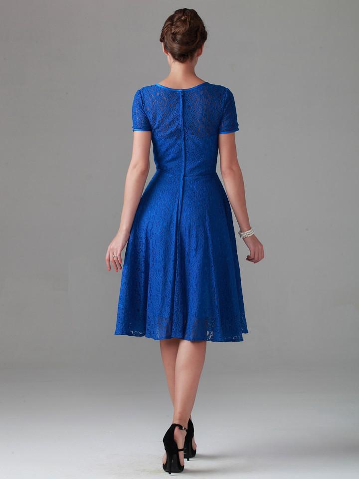 新ロイヤルブルービンテージティーレース母の花嫁のドレス半袖ブライダルブライドメイドパーティーイブニングウェディングガウンアラビア語安い