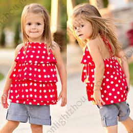 Wholesale Cheap American Shirts - Retail 2017 Girls Summer Suits chiffon Dot t shirt + Denim Shorts clothing set 2 pc set Children's Outfits Cheap lxm 002 201509HX