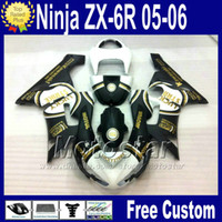 Wholesale motorcycle body kit for kawasaki - motorcycles +Free Seat cowl for Kawasaki fairings Ninja ZX6R 636 2005 2006 ZX 6R white black fairing body kit 05 06 ZX-6R zx636 qw1
