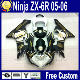 Body Ninja Zx Australia - motorcycles +Free Seat cowl for Kawasaki fairings Ninja ZX6R 636 2005 2006 ZX 6R white black fairing body kit 05 06 ZX-6R zx636 qw1