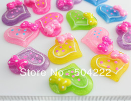Wholesale Bow Cameo - set of 50 pcs glitter heart with bow cabochon- flat back resin scrapbook button Kawaii cameo- Bobby Pins, Pendants-SZ0429