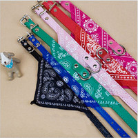 Wholesale Leather Harness Teddy - Free Shipping 2013 New lefdy Pet collar bow tie dog accessories teddy bear pet supplies necklace scarf triangle